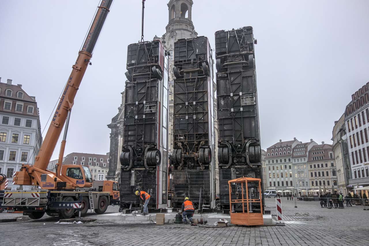 The 3 buses of Monument Dresden under construction